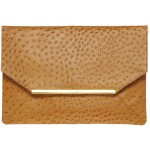 Asos Leather Ostrich Embossed Metal Bar Clutch