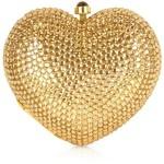 Forzieri Gold Crystal Jeweled Heart Clutch